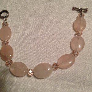 Rose Quartz with Swarovski Crystals Bracelet